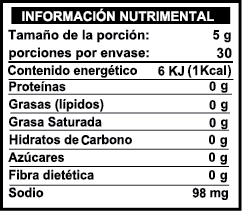 salsa valor nutrimental chile arbol